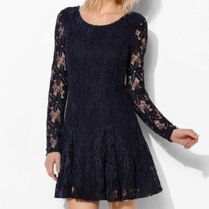 Urban Outfitters Blue Lace Fit and Flare Dress